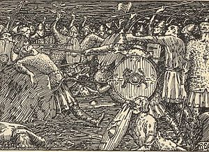 Thorir Hund - Thorir kills King Olaf, illustration by Halfdan Egedius, 1899