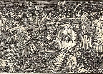 Battle of Stiklestad, from Snorri Sturluson's Heimskringla