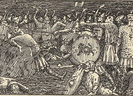 Thorir kills King Olaf, illustration by Halfdan Egedius, 1899 Stiklestad.jpg