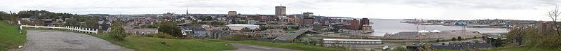 View from Fort Howe of the Saint John skyline prior to Peel Plaza