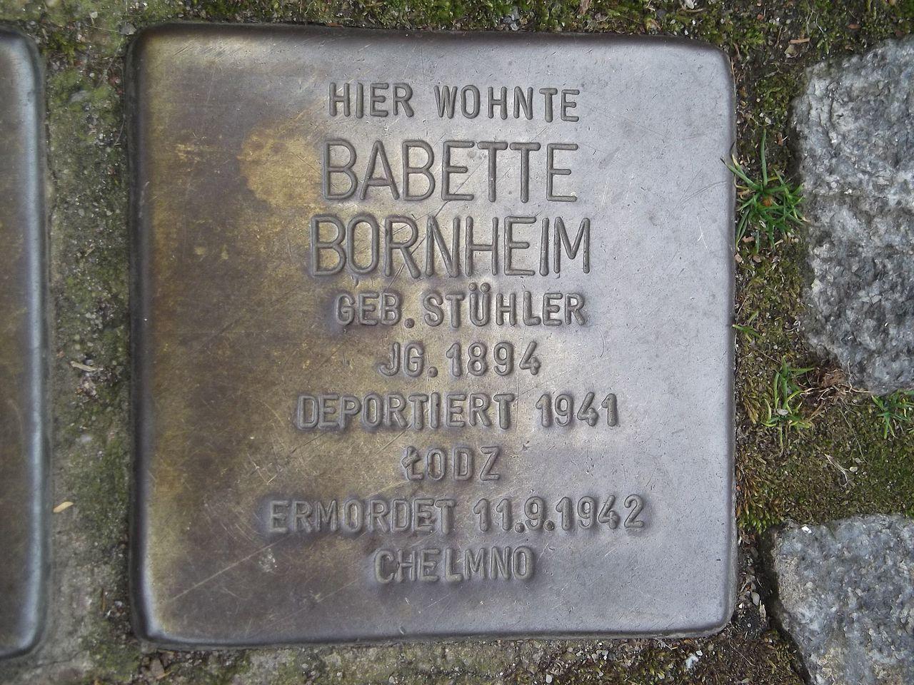 Stolperstein Düsseldorf 5 Kaiserswerth Kaiserswerther Markt 8 Babette Bornheim.jpg