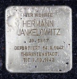 Photo of Hermann Jankelowitz brass plaque
