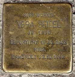 Photo of Vera Seidel brass plaque