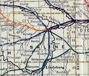 Stouffer's Railroad Map of Kansas 1915-1918 Saline County