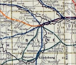 Saline County, Kansas - 1915 Railroad Map of Saline County