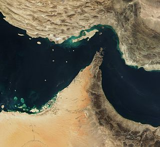 strait between the Gulf of Oman and the Persian Gulf