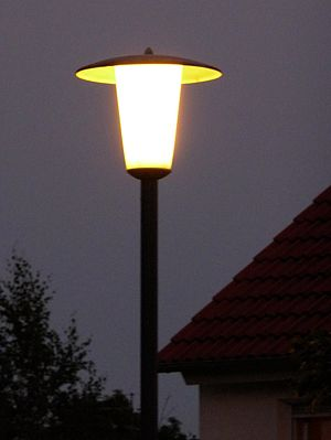 German streetlight at night.