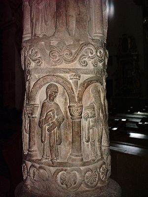 Strzelno - Column of virtues in Church of the Holy Trinity