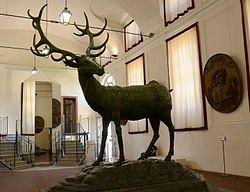 Il cervo realizzato nel 1766 da Francesco Ladatte ed oggi conservato all'ingresso della reggia, sostituito nella posizione originale sopra la cupola da una copia nel 1992.