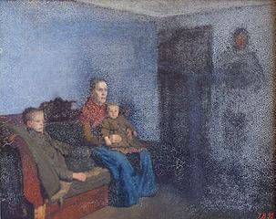 Sult. Interiør med en siddende kone og to børn