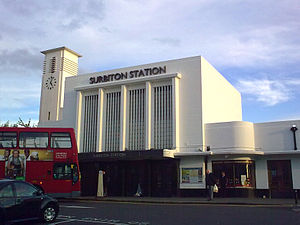 Surbiton - Grade-II listed Surbiton railway station. Art deco architecture