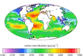 Surface ocean present-day total alkalinity, GLODAPv2.png