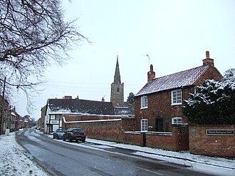 Sutton Bonington - Main Street through Bonington, with the tower of St Michael's Church visible
