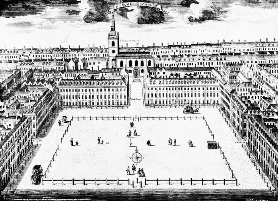 Sutton Nicholls's view of St. James's Square, c. 1722
