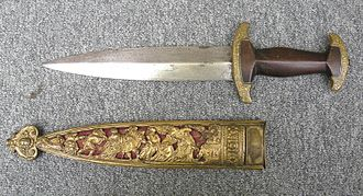 "Swiss dagger - Swiss dagger of the ""Holbein"" type in the style of c. 1570."