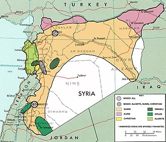 Kurds in Syria - Ethnic decomposition map of Syria, Kurdish inhabited areas are shaded in pink, in 1976