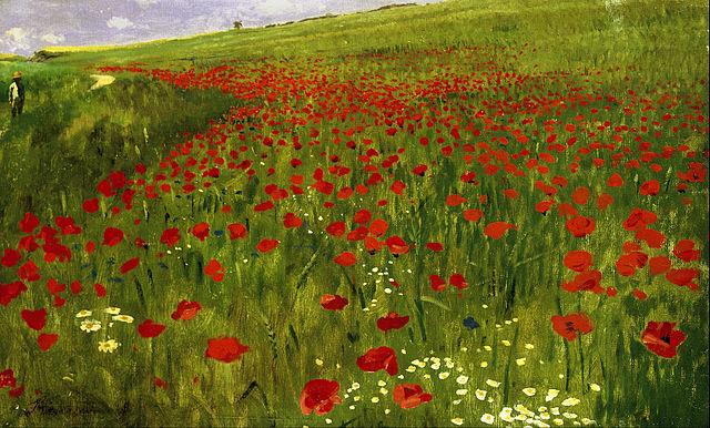 """> Oeuvre de la galerie Nationale de Budapest : """"Prairie avec des coquelicots"""" de Pál Szinyei Merse."""