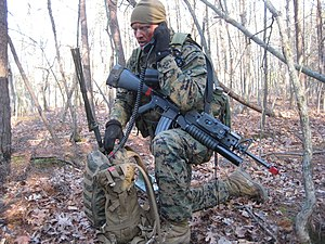 SINCGARS - A Marine Corps 2nd Lt operates a PRC 119 during training in Quantico, Virginia