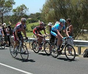 2009 Tour Down Under - Glenn D'Hollander, Imanol Erviti and Wim Stroetinga  climb Willunga Hill during Stage 5.