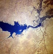 Satellite photo of lake and dam