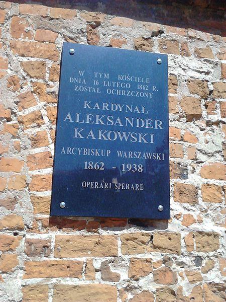 File:Tablica kard. kakowski przasnysz kościół wniebowzięcia.jpg