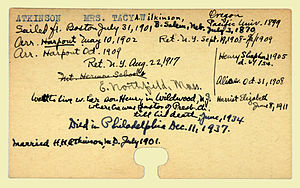 Tacy Atkinson - Personnel card of Tacy Atkinson provided by the American Board of Commissioners for Foreign Missions