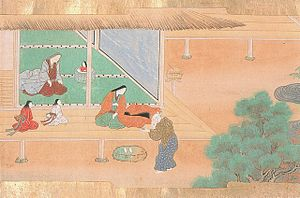 The Tale of the Bamboo Cutter - Taketori no Okina takes Kaguya-hime to his home, Drawn by Tosa Hiromichi, c. 1600