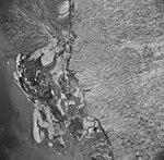 Taku Glacier, terminus of tidewater glacier and braided streams, August 23, 1964 (GLACIERS 6138).jpg