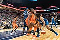 Tanisha Wright (30) looks for an opening as she's guarded by Chiney Ogwumike (13) in the Lynx vs Sun game at Target Center, the Connecticut Sun won 83-64.jpg