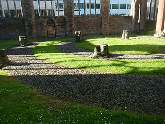Temple Church, Bristol - Outline of Templar circular church within Temple Church ruins.