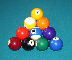 One of many valid racks in the pocket billiard...