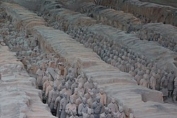 Terracotta Army inside the Qin Shi Huang Mausoleum, 3rd century BC.