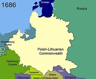 Treaty of Karlowitz - Image: Territorial changes of Poland 1686