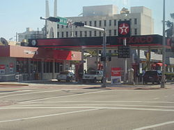A Texaco gas station in Miami Beach, Florida.