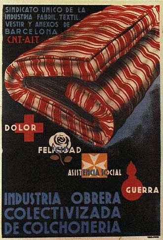 Anarcho-syndicalism - CNT poster informing about the socialization of the Textiles industry