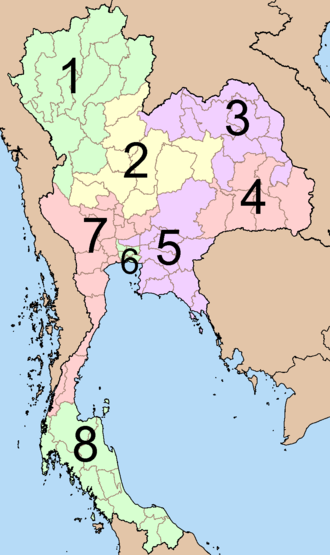 Elections in Thailand - Map of electoral areas