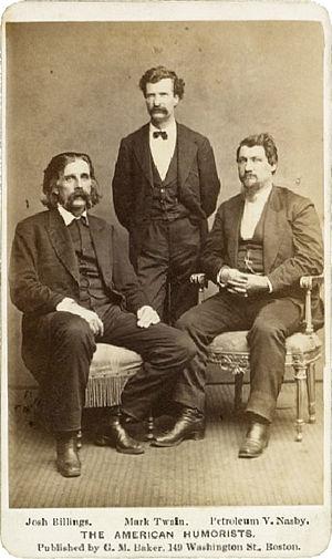 Josh Billings - The American Humorists, (from left), Josh Billings, Mark Twain and Petroleum V. Nasby