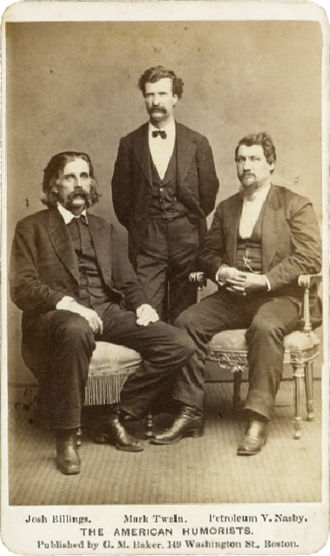 Josh Billings - The American Humorists, (from left), Josh Billings, Mark Twain and Petroleum V. Nasby
