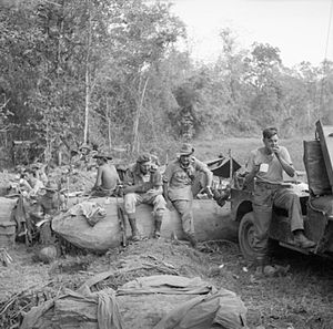 Francis Festing - Major General Francis Festing, Commander of the 36th Infantry Division, with Brigadier Aslett and men of the 9th Battalion, Royal Sussex Regiment during a break in the advance to Mandalay, January 1945.