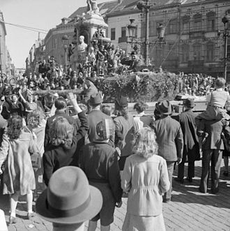 Allan Adair - Scenes of jubilation as British troops liberate Brussels, 4 September 1944. Major General A. H. S. Adair, GOC Guards Armoured Division, acknowledges the crowd from his Cromwell command tank.