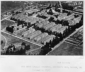 Brook General Hospital - Aerial view, c.1930.