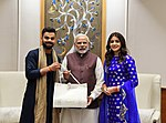 The Captain of the Indian Cricket Team, Virat Kohli and noted actor Anushka Sharma calls on the Prime Minister, Shri Narendra Modi, in New Delhi on December 20, 2017 1.jpg