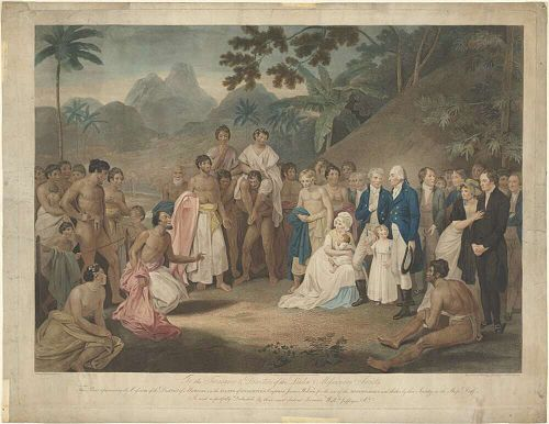The cession of the district of Matavai in the island of Tahiti to Captain James Wilson for the use of the missionaries. The Cession of the District of Matavai in the Island of Otaheite to Captain James Wilson for the Use of the Missionaries Sent Thither by that Society in the Ship Duff, 1801.jpg