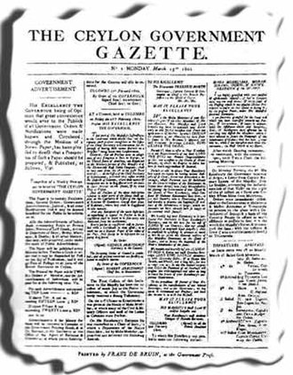 The Sri Lanka Gazette - Front page of The Ceylon Government Gazette first issue on 15 March 1802.