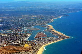 Newport Beach, California - Aerial view of Newport Beach in July 2014