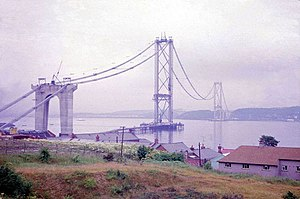 Forth Road Bridge - Under construction in July 1962