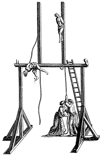 "Impalement - Original in-image text from 1741 edition of Tournefort: ""The Gaunche, a sort of punishment in use among the Turks."""