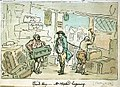 The Graphic Summer Number, 1891. Rowlandson's Tour in a Post Chaise 1782 From his Studio in London to the Wreck of the Royal George sunk at Spithead. Trunk Shop - Mr Wigstead bargaining (caricature) RMG PW4928.jpg
