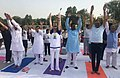 The Minister of State for Labour and Employment (IC), Shri Santosh Kumar Gangwar performing Yoga, on the occasion of the 4th International Day of Yoga 2018, at Bareilly, Uttar Pradesh on June 21, 2018 (1).JPG