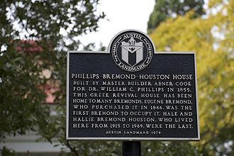 Bremond Block Historic District (Austin, Texas) - The Phillips-Bermond-Houston House, Austin, TX